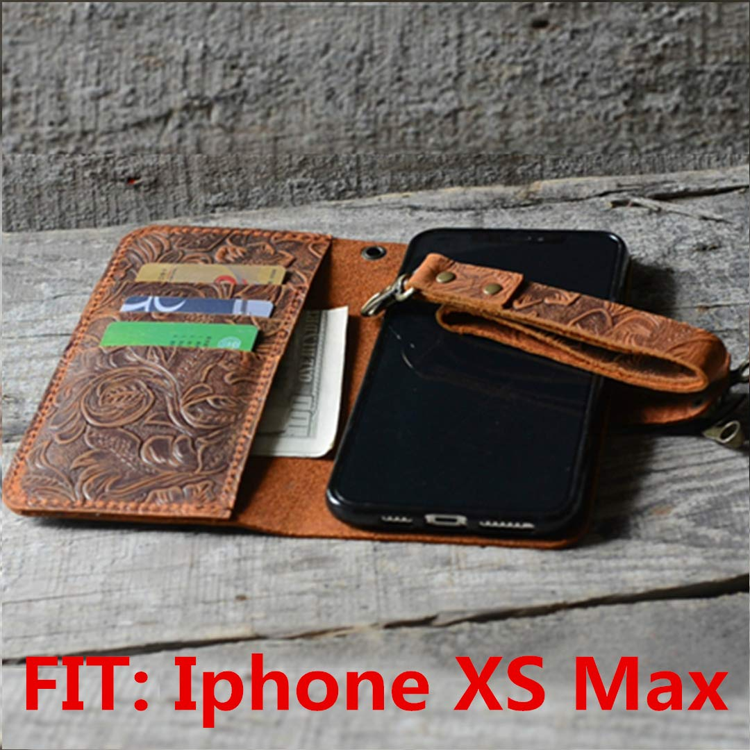 handmade genuine leather wallet case fit iphone XS Max 6.5 inch case with wristlet (old brown) -italian -with Stand