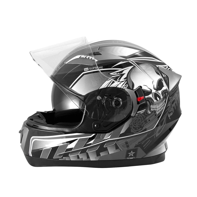 Casque Int/égral Visi/ère Pare Soleil ECE 22-05 Approuv/é Moto Scooter A-Pro Argent XL