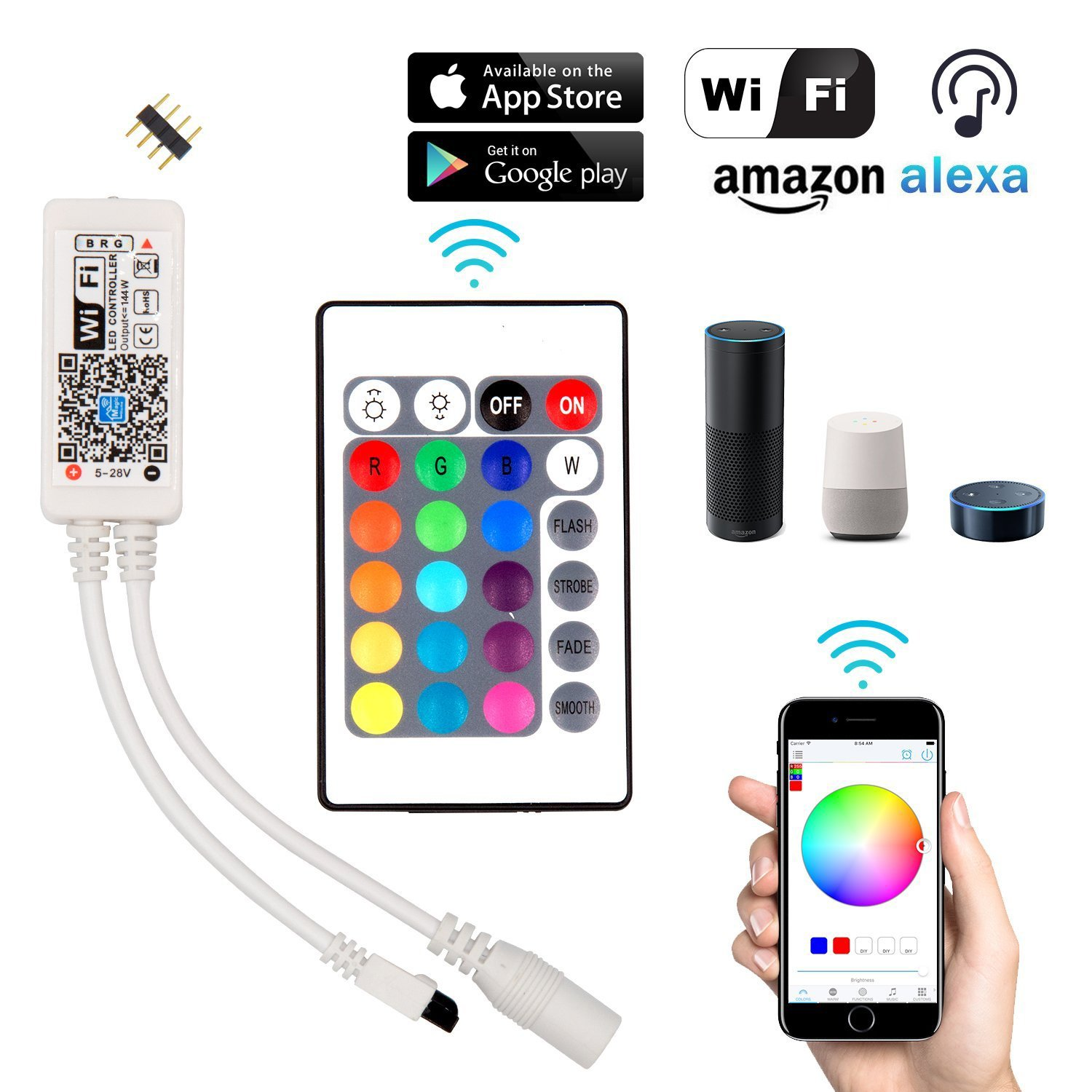 Wifi LED Strip Lights Kits, 12V RGB LED Strip Lights with 24 Key Remote, 5M 150LEDs Waterproof SMD 5050 Flexible LED Light, Wireless Smart Phone Controlled, Work with Alexa & Echo Dot, Compatible with Google Home Assistant & IFTTT [Energy Class A++