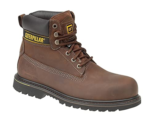 MENS SIZE 7-13 CAT CATERPILLER HOLTON BLACK LEATHER SAFETY TOE CAP WORK BOOTS