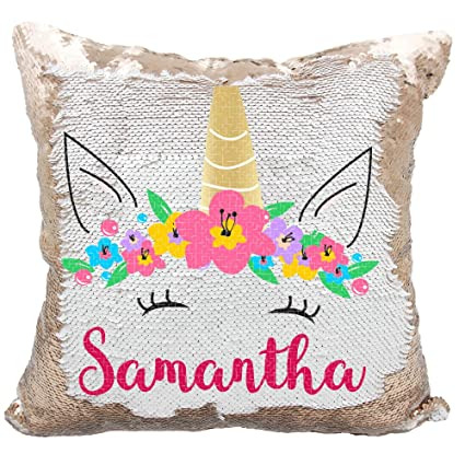 Amazon Com Personalized Mermaid Reversible Sequin Pillow Custom