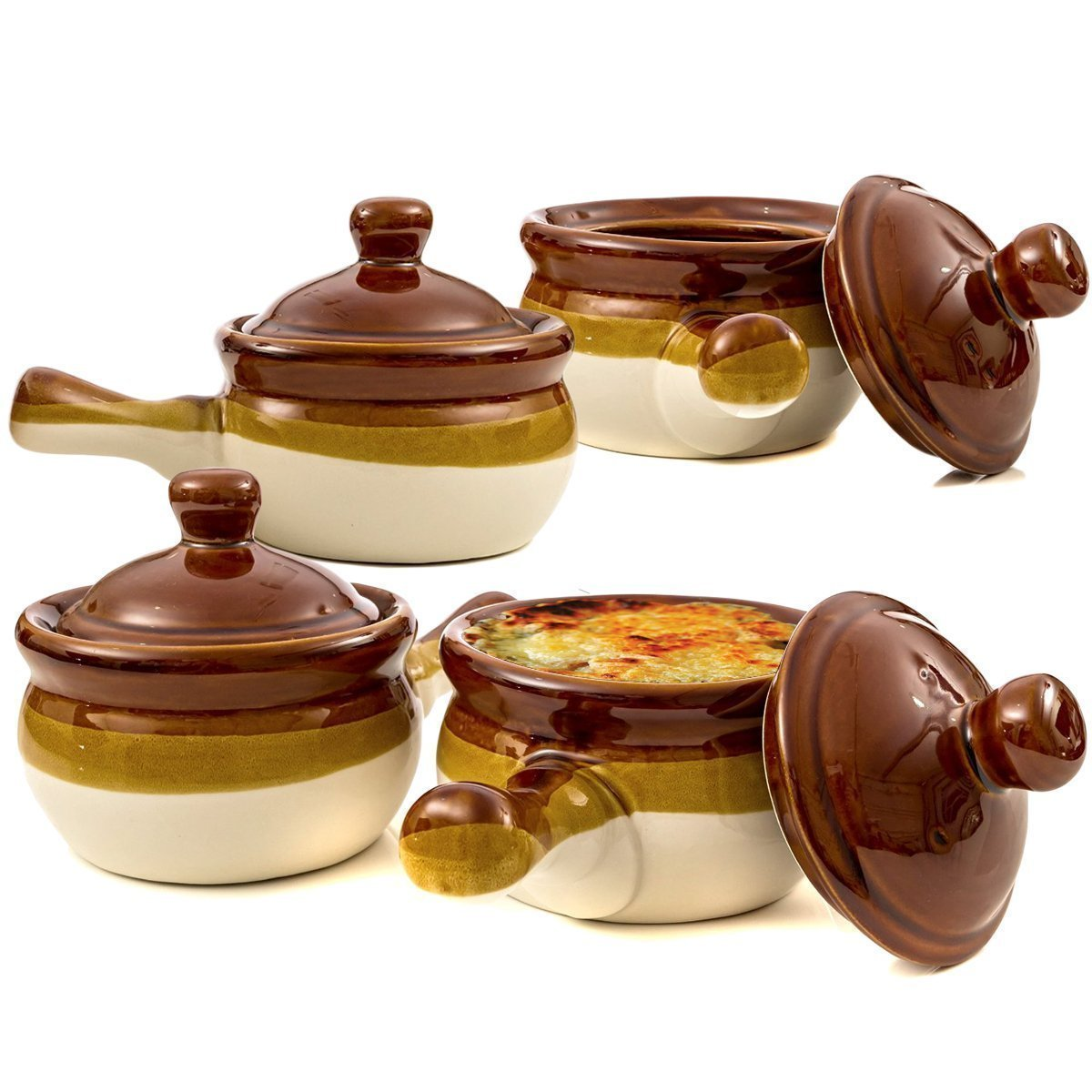 Gibson French Onion Soup Crock Bowls with Handles, 15 Ounce - Set of 4