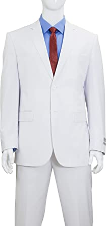 Modern Fit Mens Suits Single Breasted 2-Button Jacket Flat Front Pants