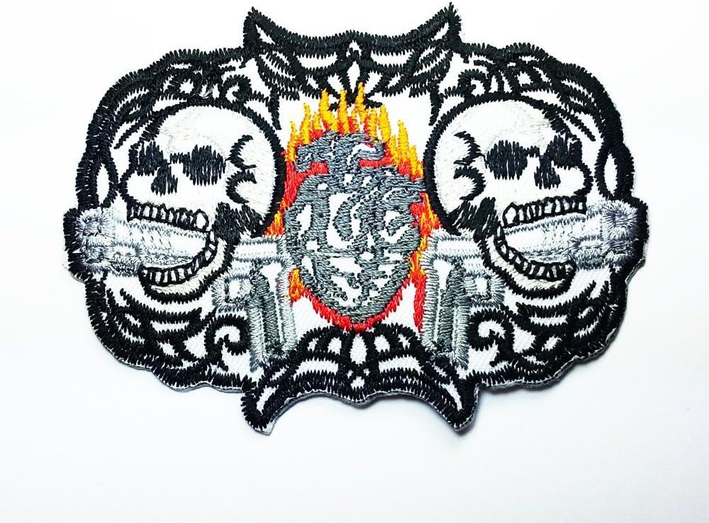 Corazón llama calavera Killer pilstol pistola Cross Rider Biker ...