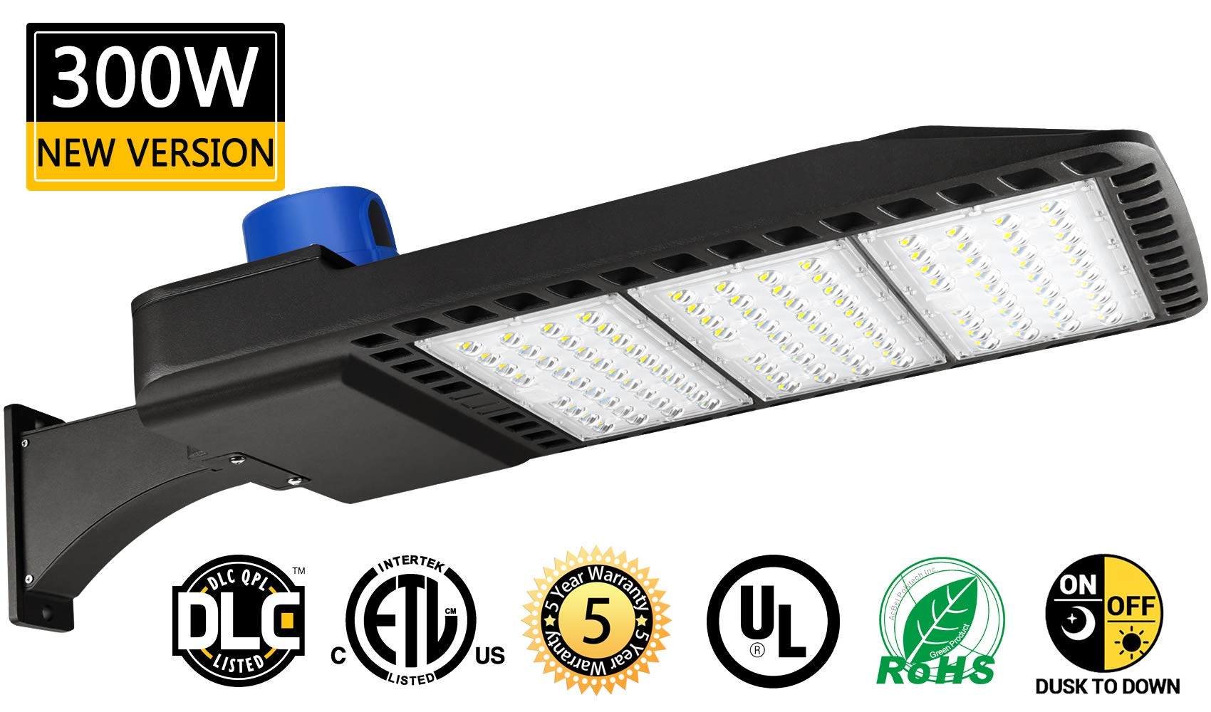 LED Parking Lot Lights 300W Dusk-to-Dawn Photocell Sensor 1000-1200W HID/HPS Replacement Commercial Outdoor Parking Lot Lighting 36000LM 5000K100-277V UL DLC&ETL Listed