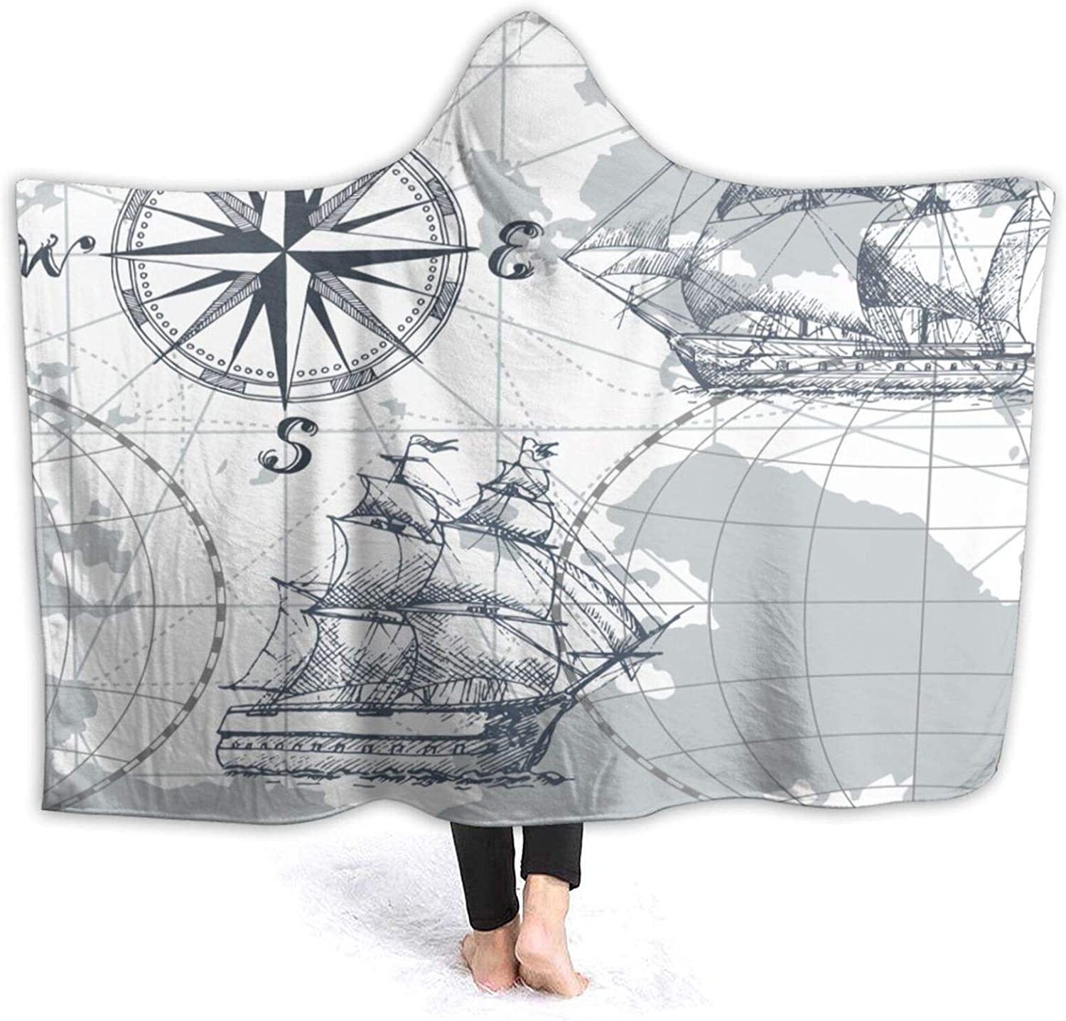 "Janrely Custom Hooded Blanket,I Love London Double Decker Bus Telephone Booth Cab Crown of United Kingdom Big Ben,Soft Sherpa Fleece Wearable Throw Blanket Bed Home Sofa Travel 50""X40"""