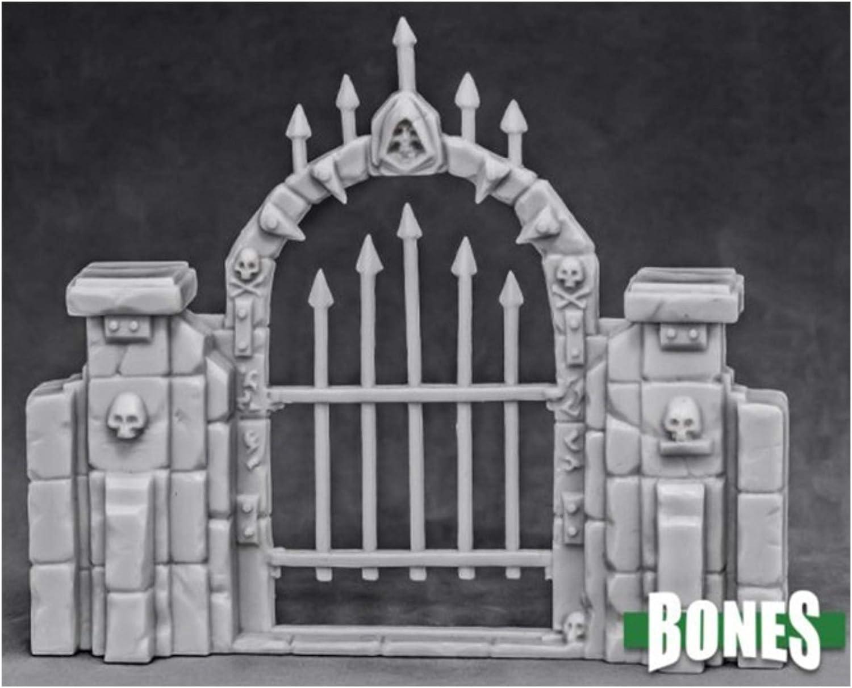 Reaper Miniatures Graveyard Fence Gate #77527 Bones Unpainted Plastic Scenery