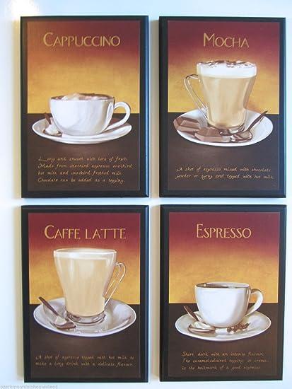 Amazon.com: Coffee - Kitchen Wall Decor Plaques, Mocha Cappuccino ...