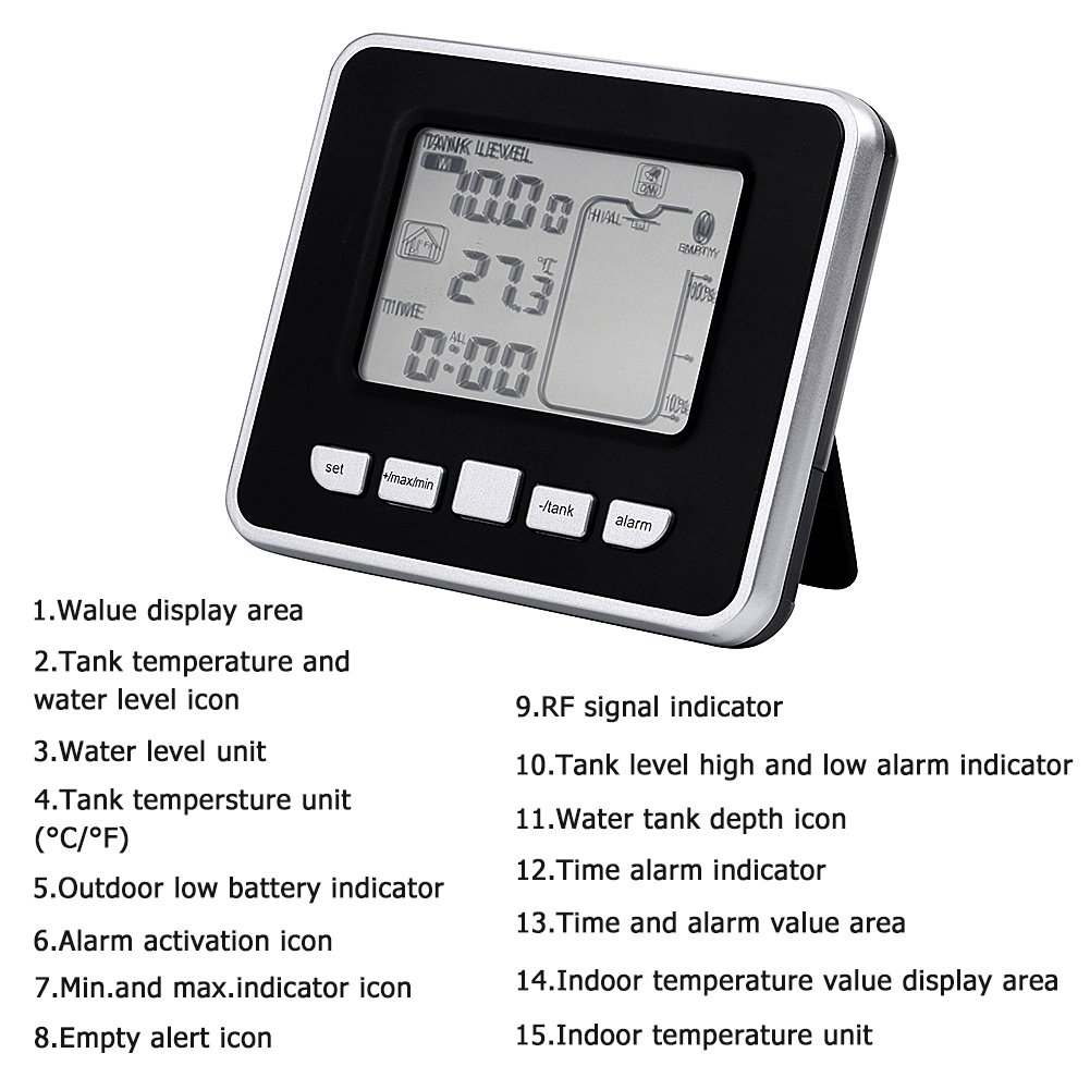 Walfront Ultrasonic Water Tank Liquid Depth Level Meter Sensor with Temperature Display,3.3 Inch LED Display by Walfront (Image #3)