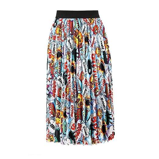 Zxllyntop-Dresses Falda Casual para Mujer Falda a Media Pierna con ...