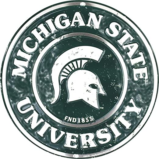 amazon com signs 4 fun srcms michigan state spartans round sign home kitchen signs 4 fun srcms michigan state spartans round sign