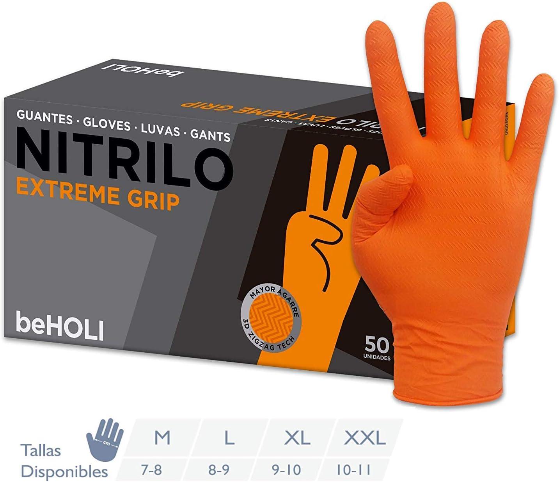 Caja de 50 Unidades Guante de Nitrilo EXTREME GRIP de beHOLI Naranja, XL