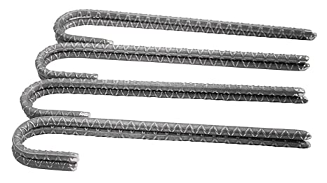 Pinnacle Mercantile Rebar Stakes J Hook Heavy Duty Steel Ground Anchors 12  inch Chisel Point End (8-Pack)