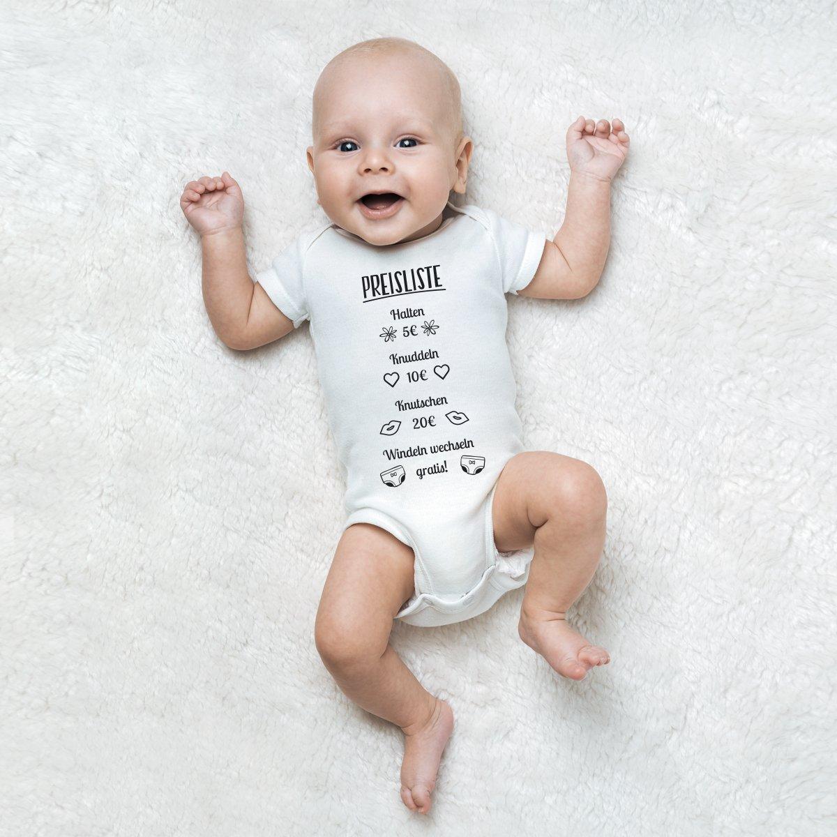 "JUNIWORDS Babybody Kurzarm /""Preisliste/"" 100/% Baumw Wähle Farbe /& Größe Junge"