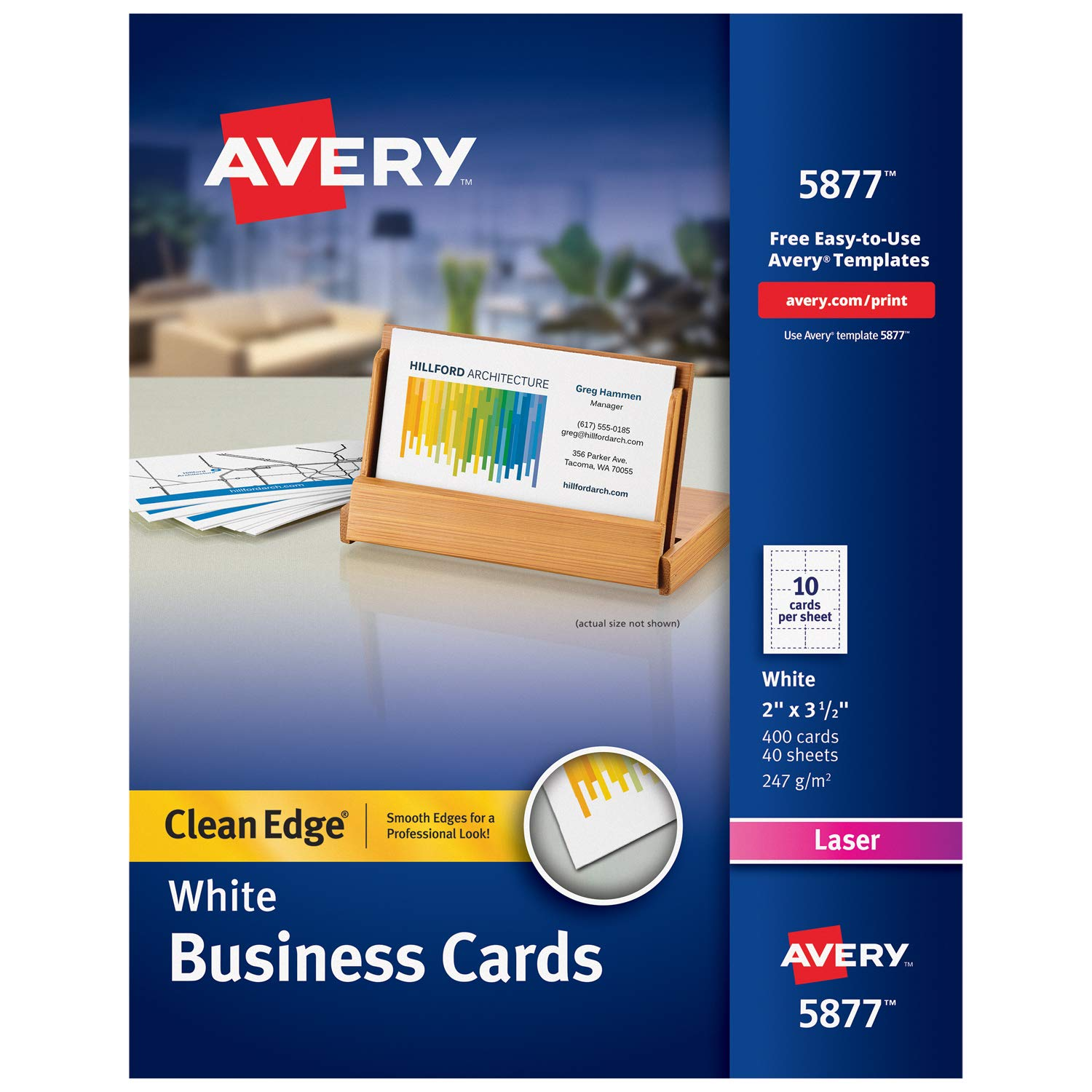Avery Printable Business Cards, Laser Printers, 400 Cards, 2 x 3.5, Clean Edge (5877)