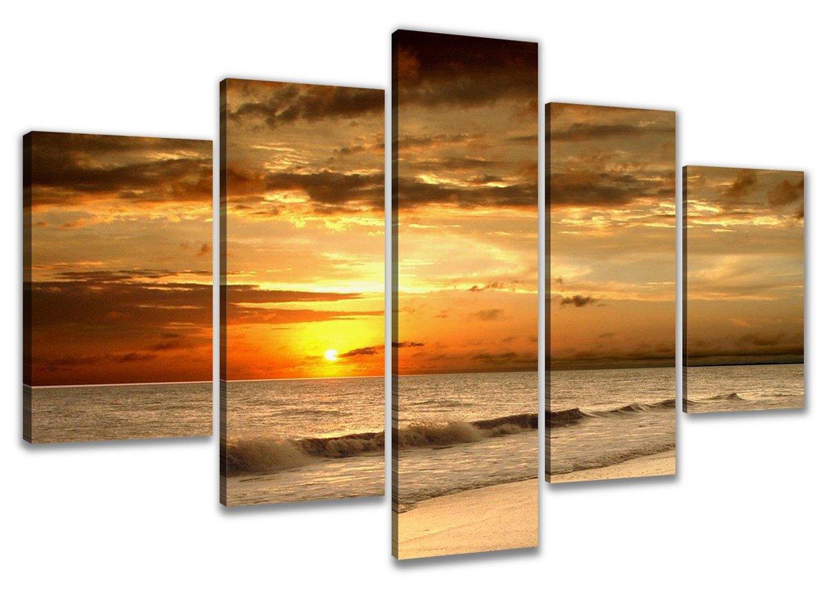 Amazon.de: Visario 6302 Bild auf Leinwand Strand fertig gerahmte ...