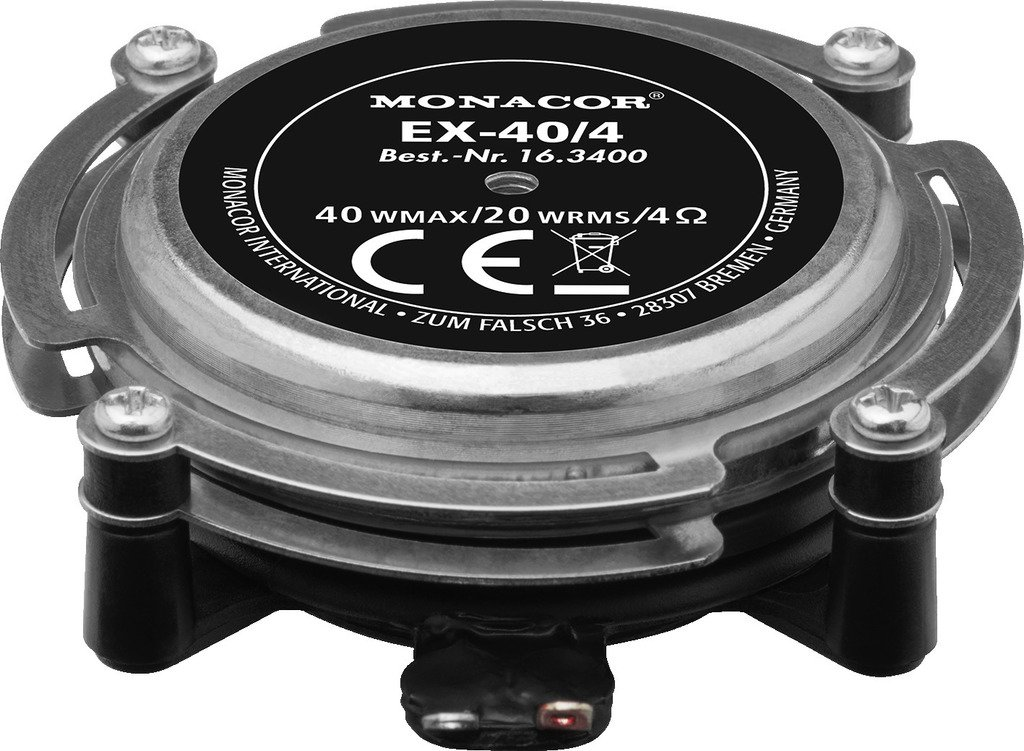 Monacor EX de 40/4 de audio Excitador/resonatoren, 20 W, 4 ohmios