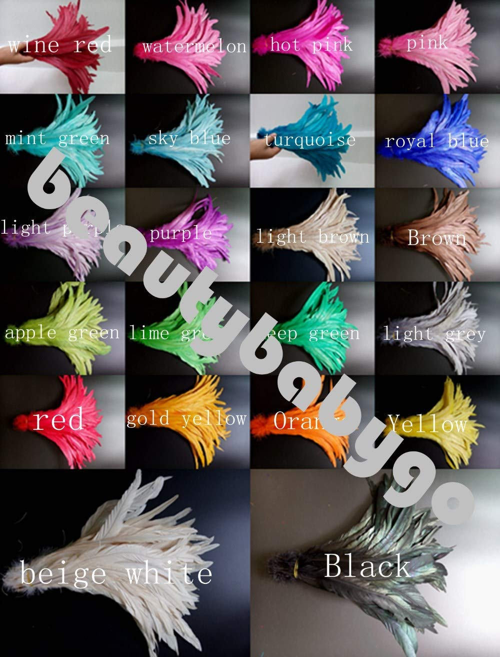 Maslin100pcs/packs Light Purple Rooster Tail Feather 12-14 inches / 30-35 cm for Costume 22 Colors Available