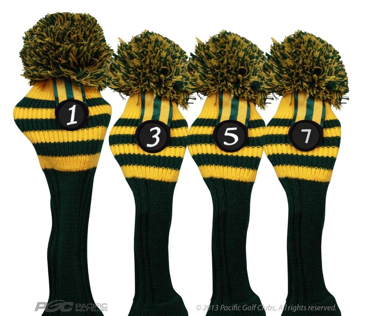 Pacificゴルフクラブヘッドカバー1 3 5 7緑とYelllowニットレトロ古い学校ヴィンテージストライプポンポン付きThrowbackクラシック B01B3OHVP8