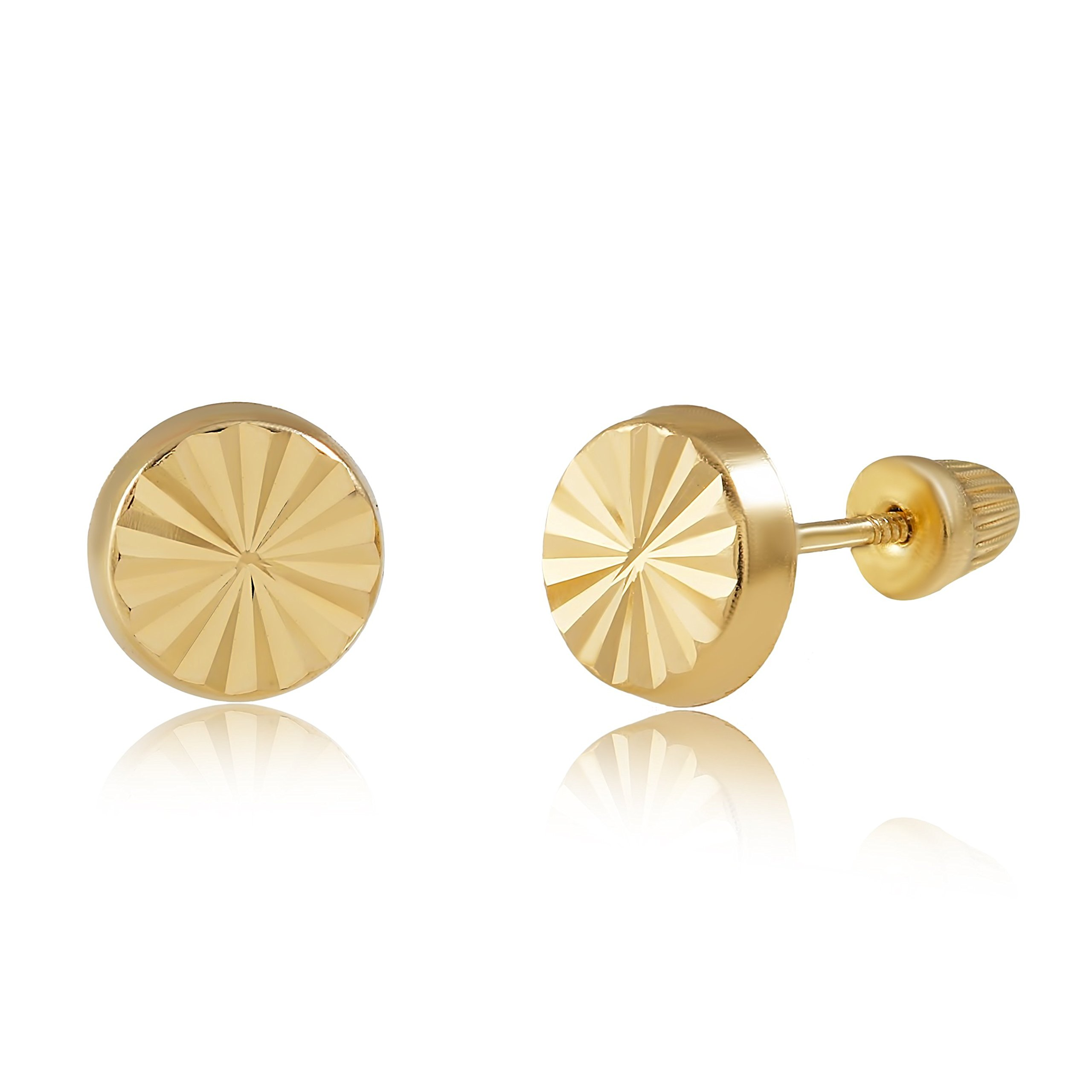 14K Yellow Gold Diamond Cut Round Stud Earrings for Women and Girls - Hypoallergenic for Sensitive Ears by Balluccitoosi