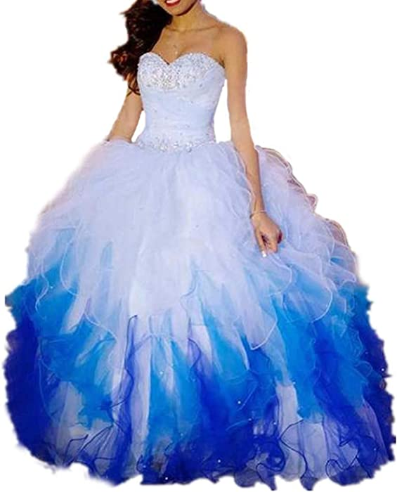 Womens Ombre Beaded Tutu Sweet 16 Prom Dresses Tulle Pageant Ball Gowns