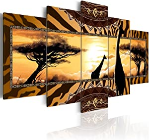 "Konda Art Landscape Canvas Wall Art Modern African Home Decor Giraffe Painting Sunset Tree Print Picture 5 Piece Framed Artwork for Living Room Ready to Hang (African Giraffes, 40""x 20"")"