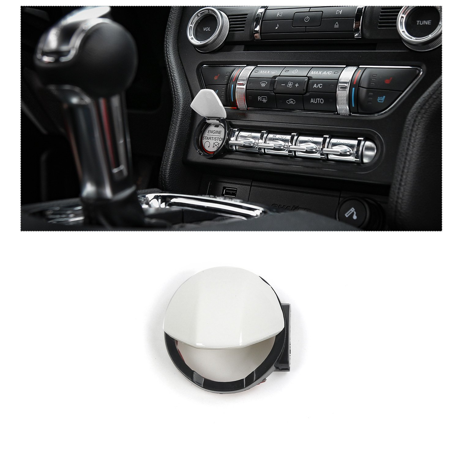 co-pilot位置ストレージボックススイッチボタンカバートリムfor Ford Mustang 2015 Up Engine Start/Stop Button Cover Trim ホワイト RT-YM-01white B07BDFCPST Engine Start/Stop Button Cover Trim|ホワイト ホワイト Engine Start/Stop Button Cover Trim