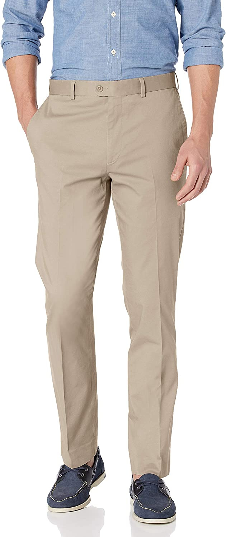 Bensol Mens Flat Front Stretch Cotton Khaki Pant