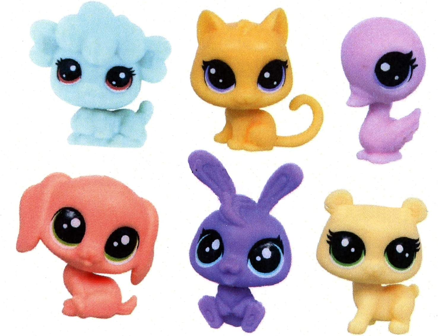 Set of 6 Piece Value Pet Mini-Scale Bear, Bunny, Beagle, Kitty, Swam and Sheep 3Dstereo Littlest Pet Shop Figurines