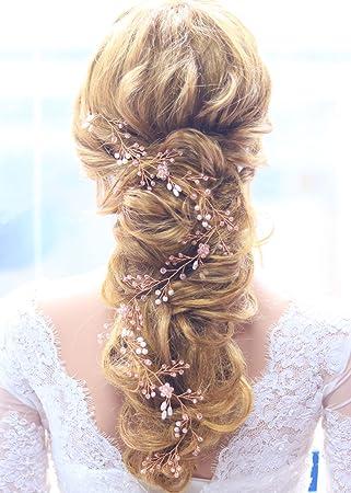 Gracewedding Brautschmuck Haarschmuck für die Hochzeit, Ranken Design in Rotgold, geeignet für langes Haar, Vintage Stil, mit Strass