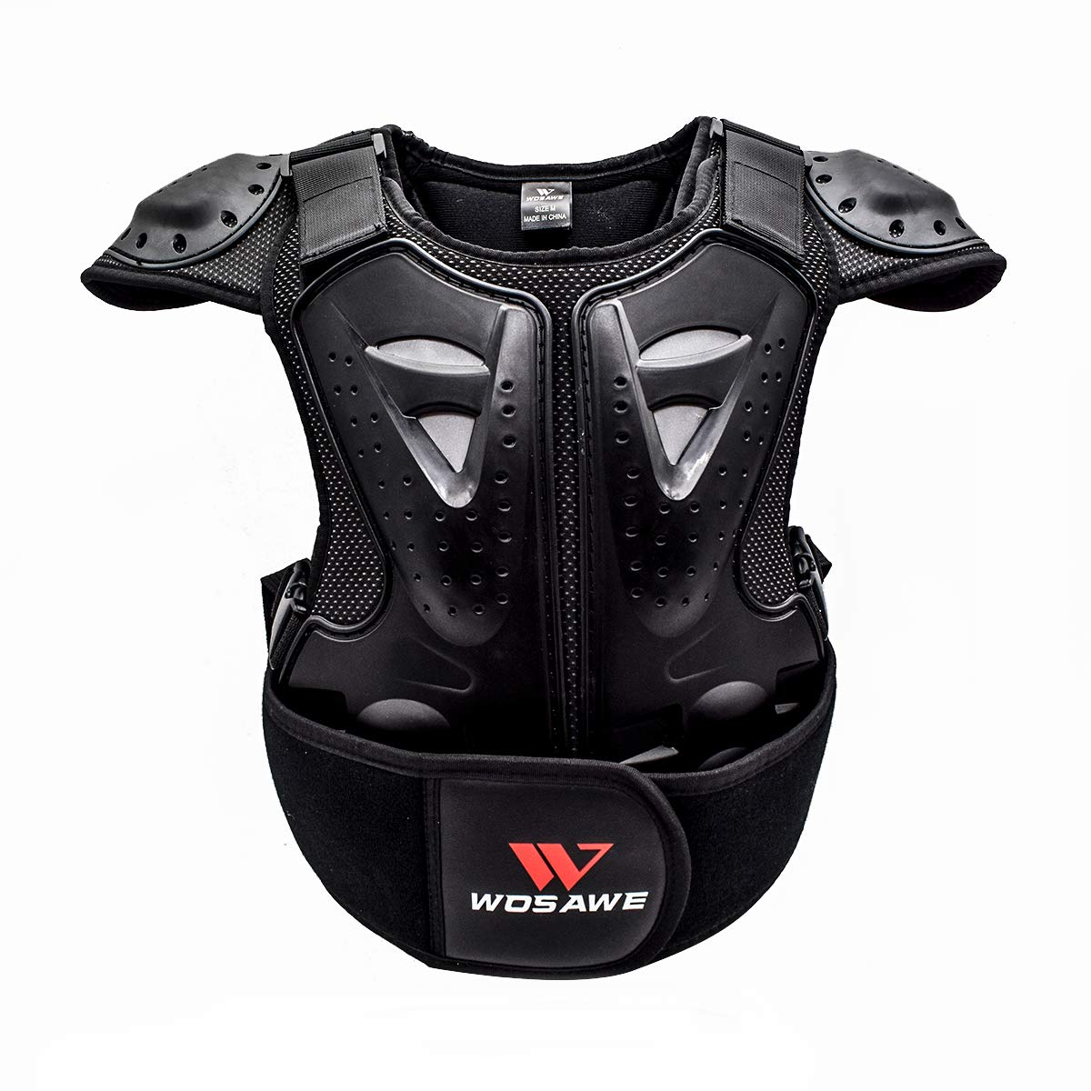 WOSAWE Kids Balance Bike Cycling Body Armour Vest Snowboarding Training Bicycle Chest Spine Protector, Large
