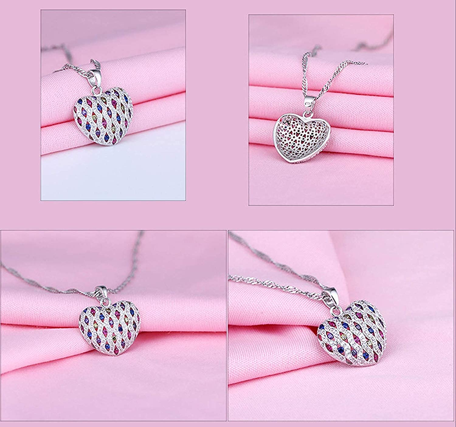 TTLElife Heart Pendants Silver Wedding Necklace Pendant Hollow Heart Colorful Round Cubic Zirconia