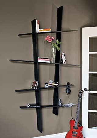 nexxt Leena Angled Wall Mounted Bookshelf, Black