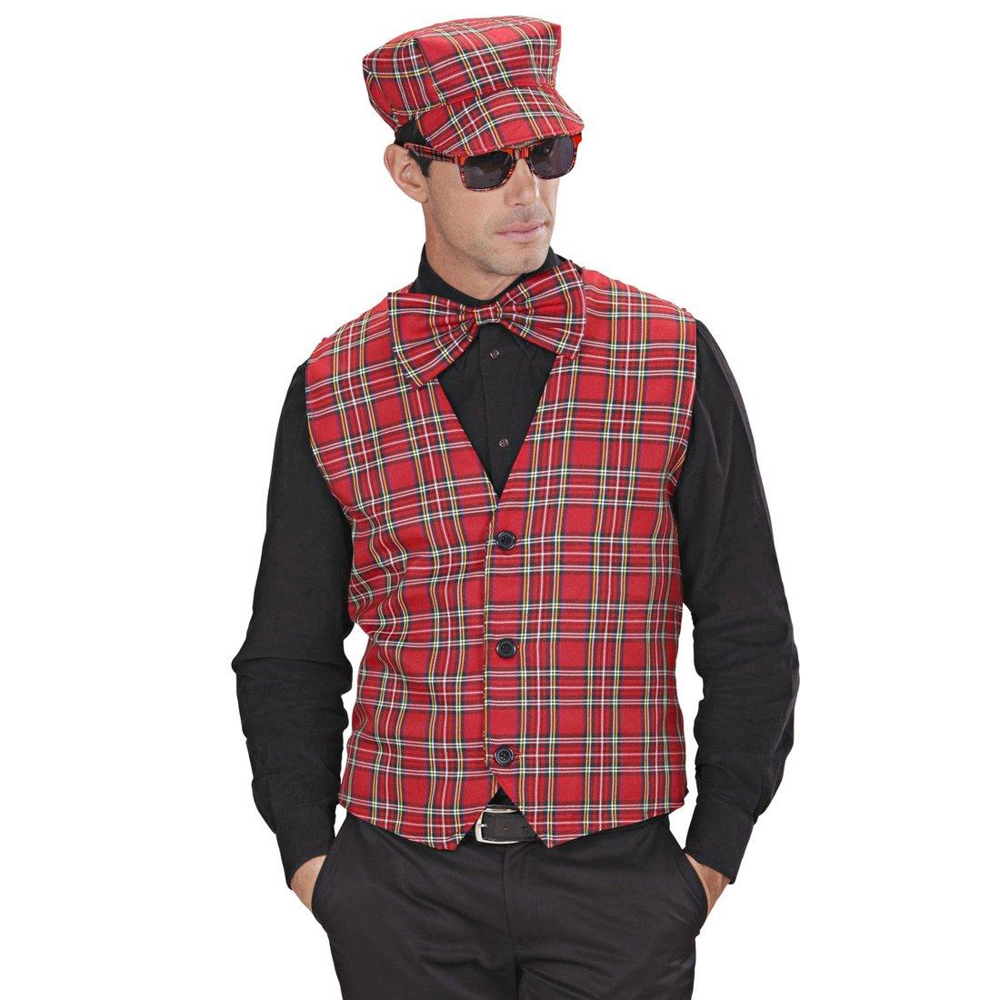Amakando Disfraz escocés Chaleco Hombre a Cuadros M/L 50/52 Traje ...