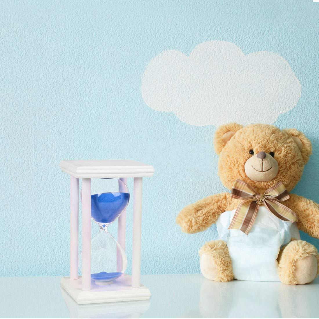 Bojin legno telaio bianco blu sabbia vetro clessidra clessidra Contaore per bambini sabbia orologio clessidra timer clessidra clessidra clessidra sabbia orologio Game Home Decoration 15 mins Blue