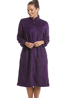 Camille Womens Nightwear Soft Fleece Grey Zip Front House Coat Dressing Gown