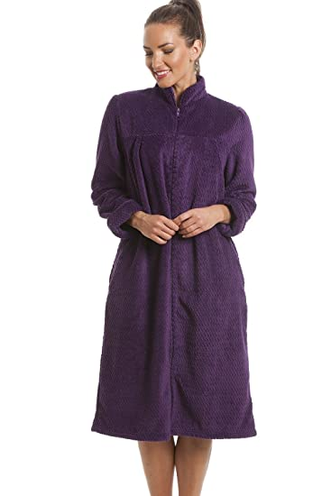 Camille Soft Fleece Purple Zip Front House Coat Dressing Gown