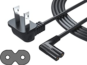 Pwr Power Cord for Samsung Tv 3903-000853 3903-000599 Right Angle 2-Prong TV Power Cord - IEC-60320 IEC320 C7 to NEMA 1-15P AC Cable Compatible Replacement 2 Slot 2 Prong LED LCD Smart 6 Feet