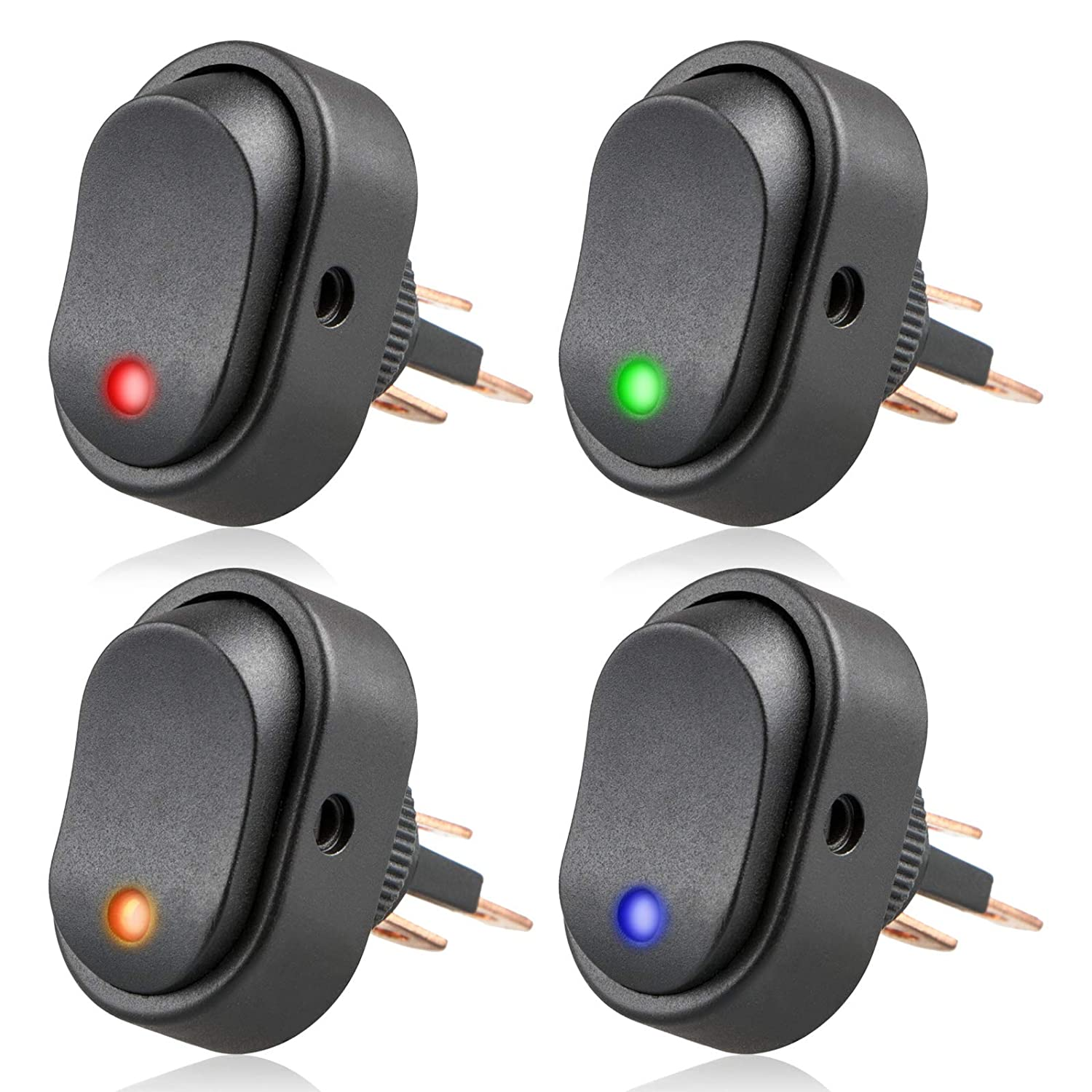 Linkstyle 4pcs 12v 30a Spst Led Lighted Rocker Toggle Switch 3pin X2 With Red Green Indicator Lamps Dot Light On Off