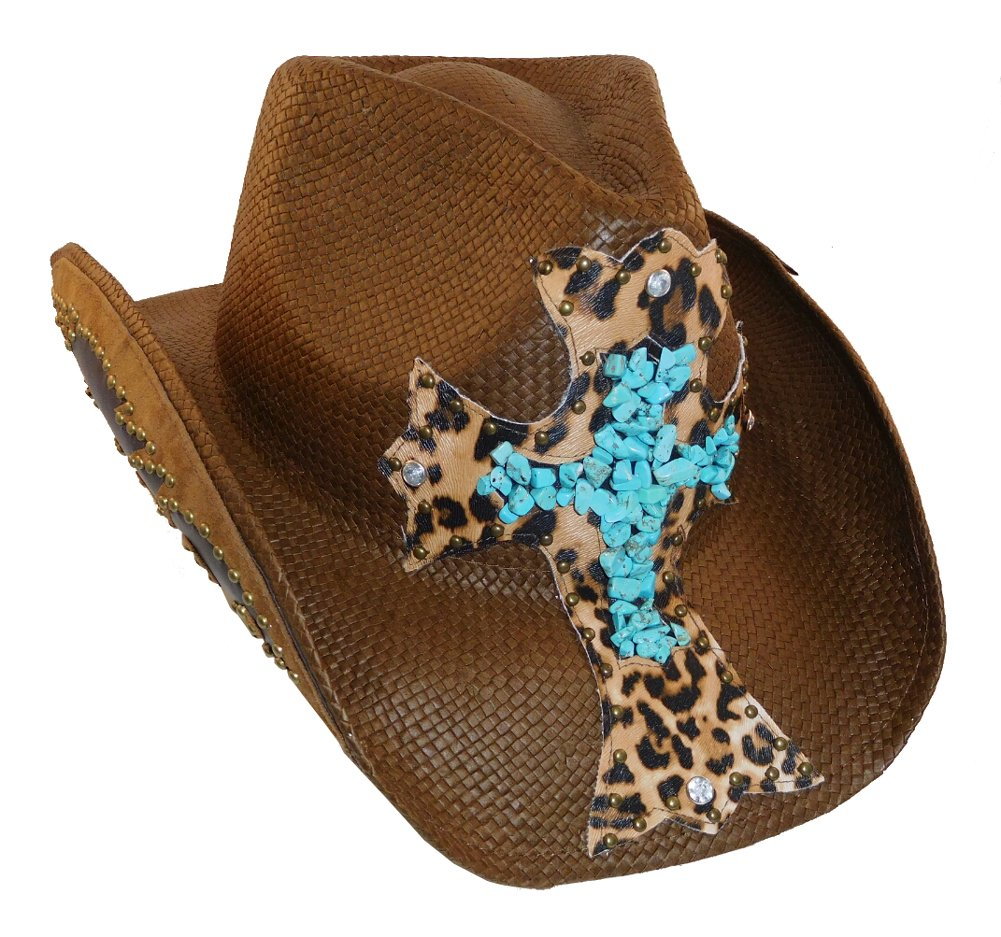 Peter Grimm Cross Studded Zeke Drifter (One Size, Brown Turquoise)