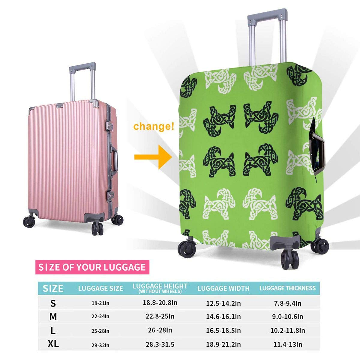 Celtic Goat On Green Printed Business Luggage Protector Travel Baggage Suitcase Cover 4 Size