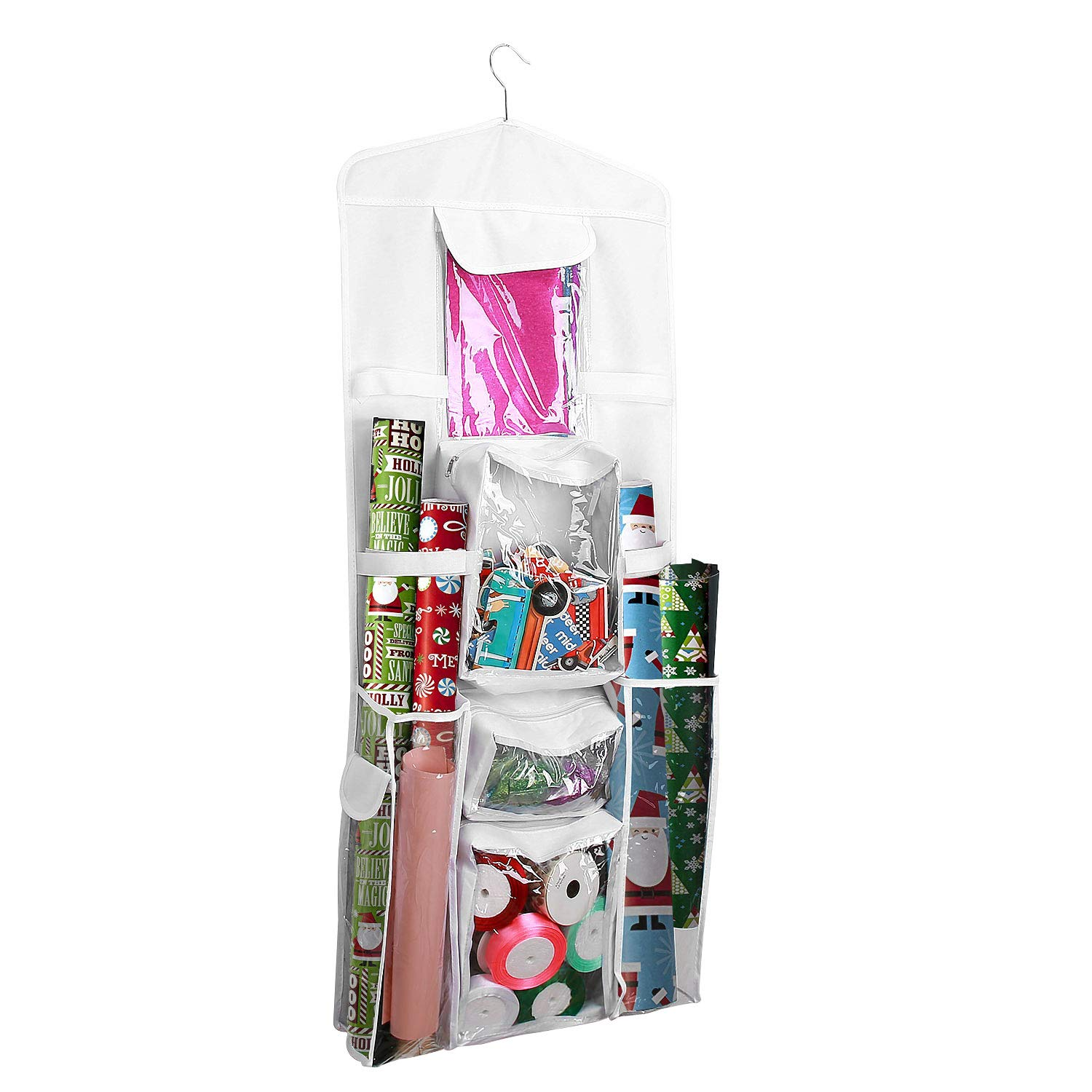 ProCase Gift Wrap Organizer, Double-Sided Hanging Gift Bag Wrapping Paper Holder with Multiple Clear Pockets and 360 Degree Swivel Hook for All Your Gift Wrapping Accessories -White by ProCase