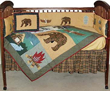 Amazon Com Patch Magic Cabin Crib Bedding Home Amp Kitchen