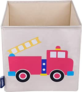 Wildkin Kids 10 Inch Storage Cube for Boys and Girls, Perfect Use in Your Child's Bedroom or Playroom, Helps Keep Toys, Games, Books, and Art Supplies Organized, BPA-free, Olive Kids (Fire Truck)