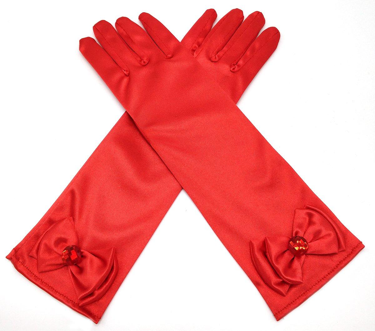 ALEAD Girls Long Satin Princess Dress Up Diamonds Bows Gloves for Kids