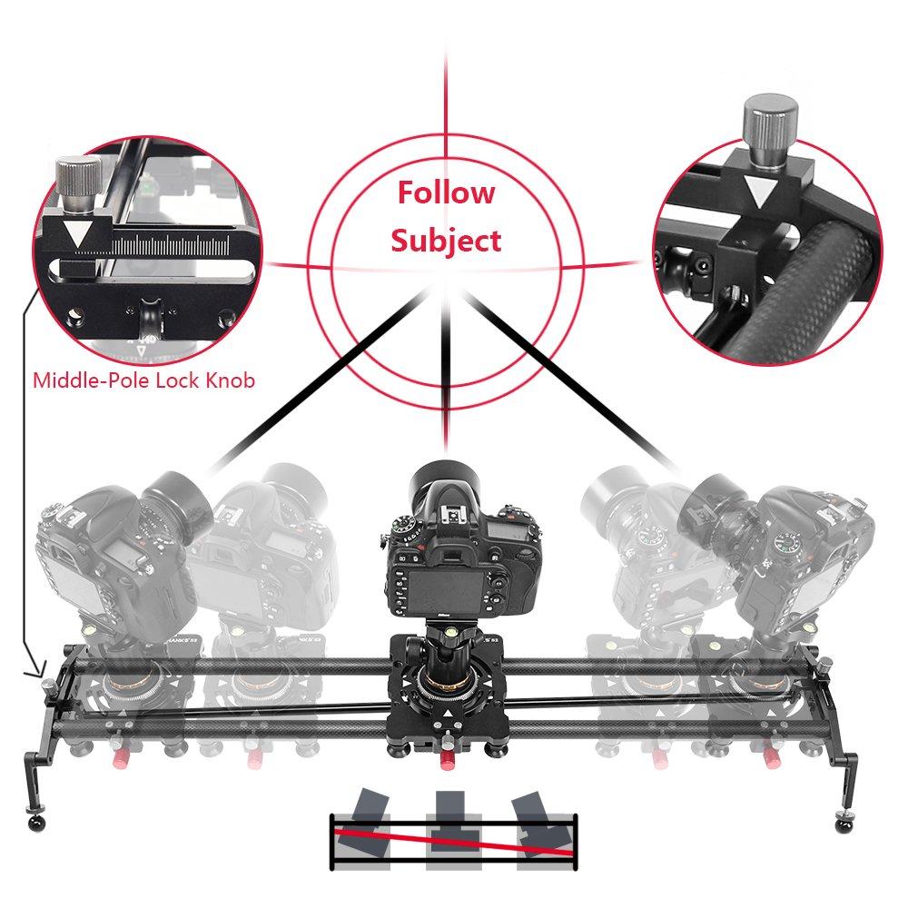 ASHANKS 47''/120CM Carbon Fiber Dslr Camera Slider Follow Focus Pan Sliders Dolly Track Rail for Timelapse Photography Video Stabilization