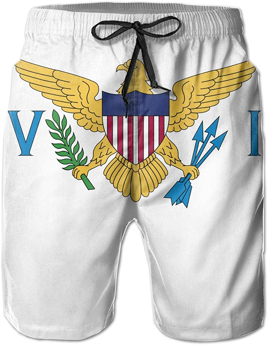 Trikahan US Virgin Islands Flag Mens Beach Shorts Swim Trunks Summer Shorts Sports Shorts