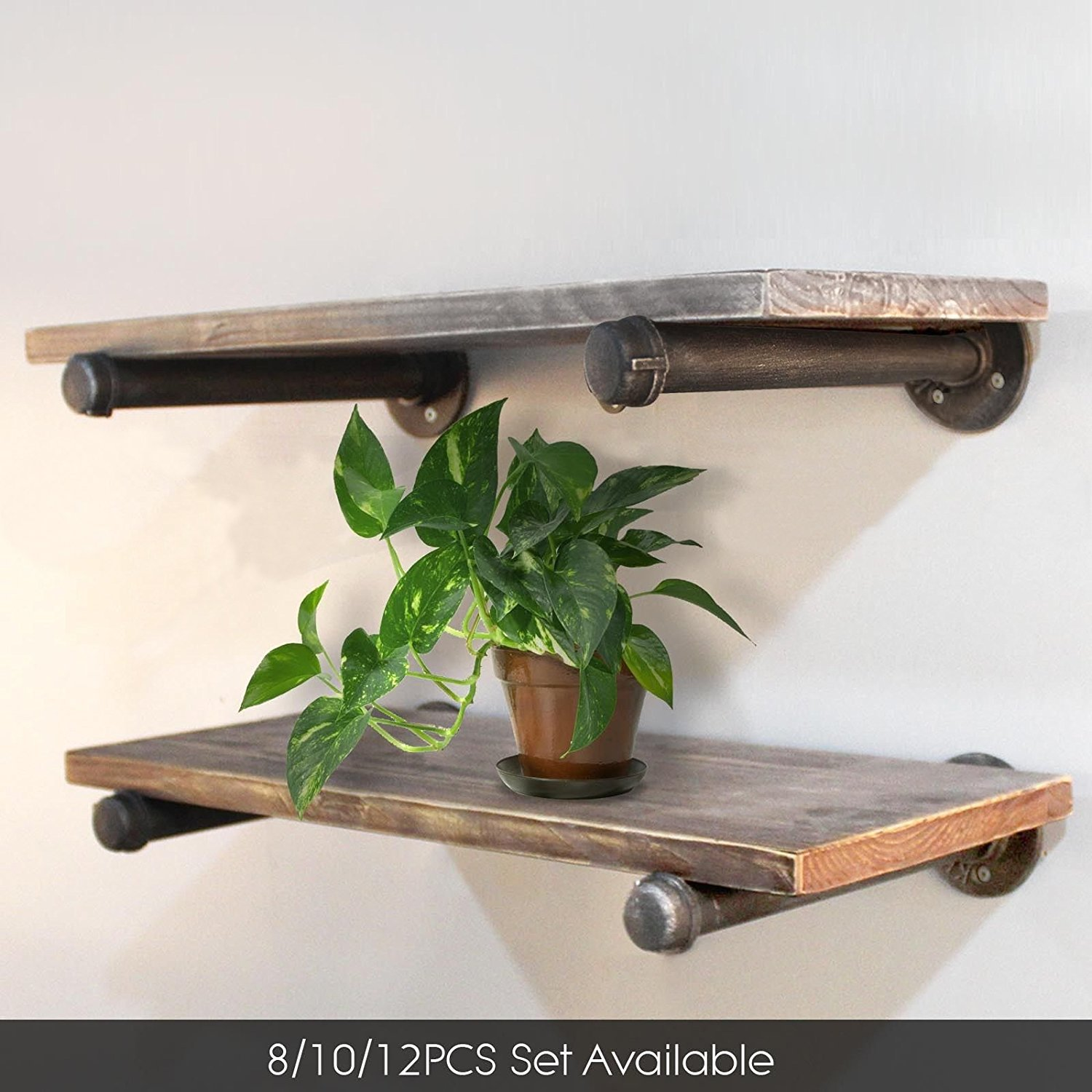 Diwhy 20 Quot Industrial Pipe Shelves Wall Mounted Metal Pipe