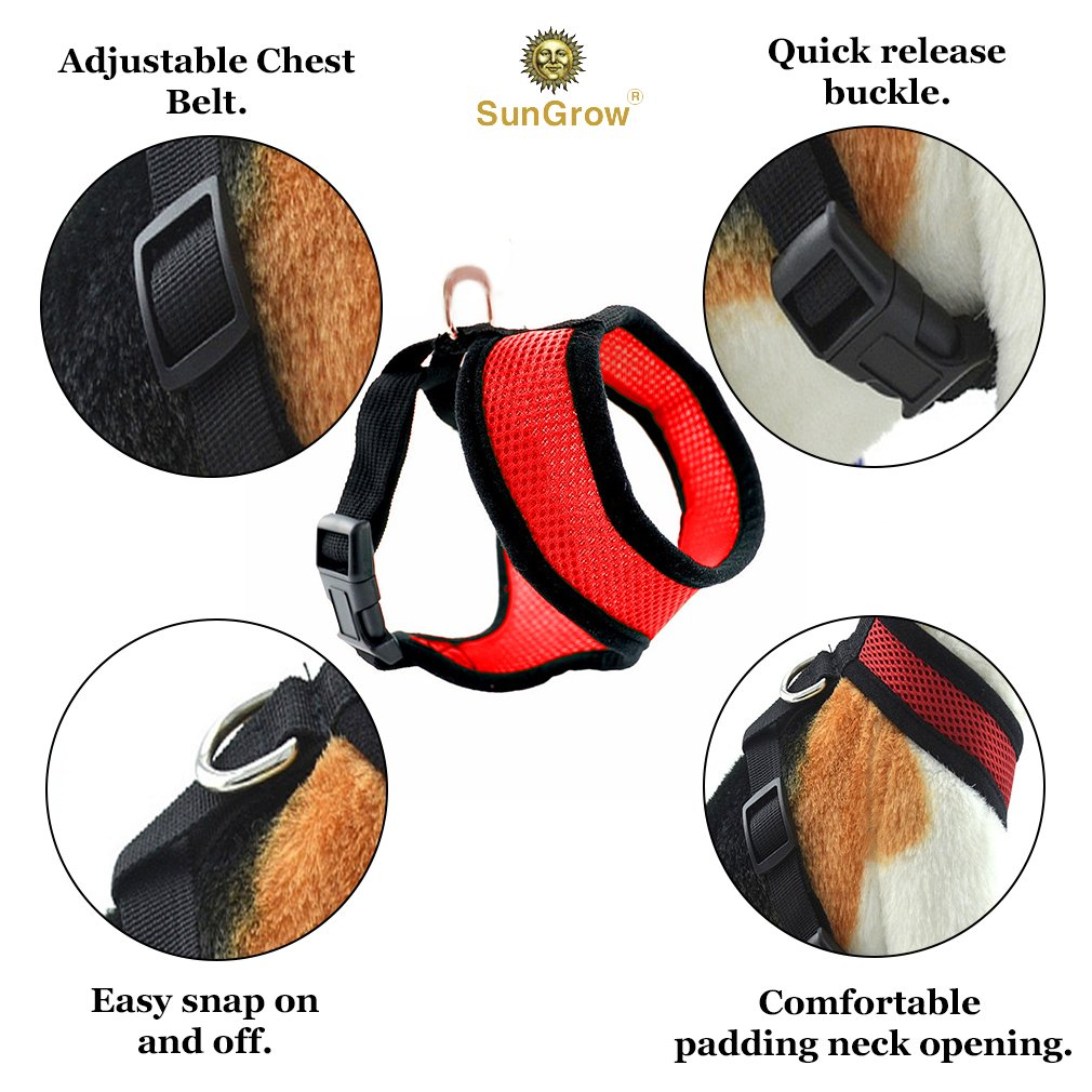 """Radiant Red Dog Harness by SunGrow: Comfortable, Soft breathable fabric: Adjustable from 14 to 20"""": Safe Padded neck opening: Easy Snap on and off: Secure Straps & D rings"""
