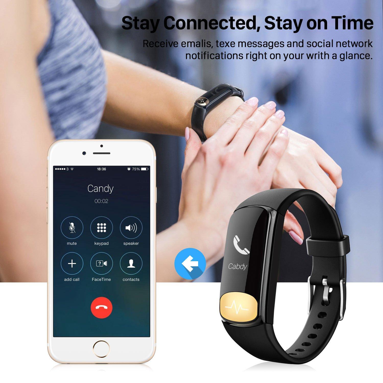 Uten Smartwatch App iOs / Android , Numerique Montre Bluetooth Connecte Tracker d\'activite Fitness Bracelet Waterproof Wearable Heart Monitor Sport Odometre